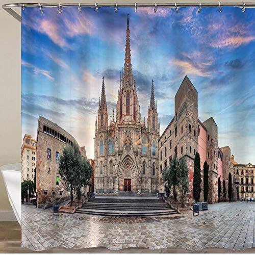 LISNIANY Cortinas Ducha,Catedral de Barcelona,Cortina de Ducha Impermeable, Cortina de Ducha