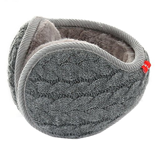 SamiTime Unisex Knit Cashmere Winter Outdoor Earmuffs with Fur Ear warmer, Adjustable Wrap,Pure Color