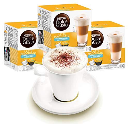Nescafé DOLCE GUSTO Tassen Geschenkset, 3 Packungen mit Becher Latte Macchiato Ungesüßt, Kaffee, Kaffeekapsel, Kapseln