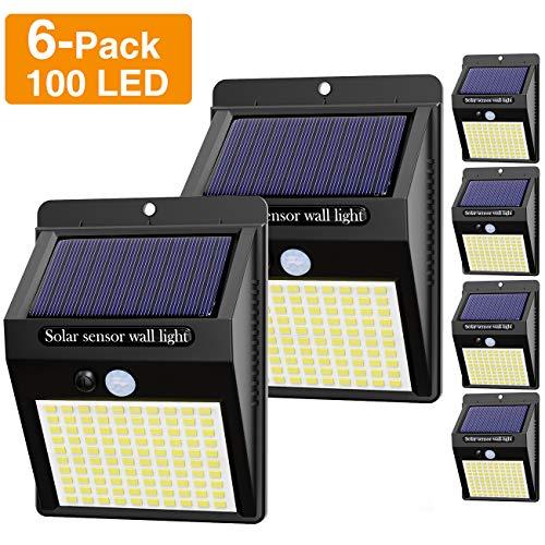 【6 Stück】Solarlampen für Außen mit Bewegungsmelder, [ 2020 Neue Version] Hepside 100 LED Solarlampen für Außen 120° Superhelle Solarleuchten für Außen 3 Modi Wasserdichte Solar Wandleuchte für Garten