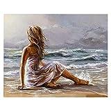 Ilustración de Regalo Junto al mar DIY Pintura Digital Mural Moderno Lienzo Pintura decoración del hogar 40X50 cm sin Marco