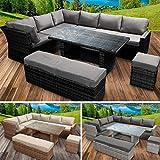 BRAST Poly-Rattan Gartenmöbel Essgruppe Lounge Set Sitzgruppe Outdoor Möbel Garten Garnitur Sofa Holidays 3 Farben Schwarz Grau