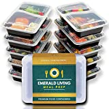 [10 unidades] Emerald Living 2 compartimento sin bifenol A. Contenedores para comida preparada.
