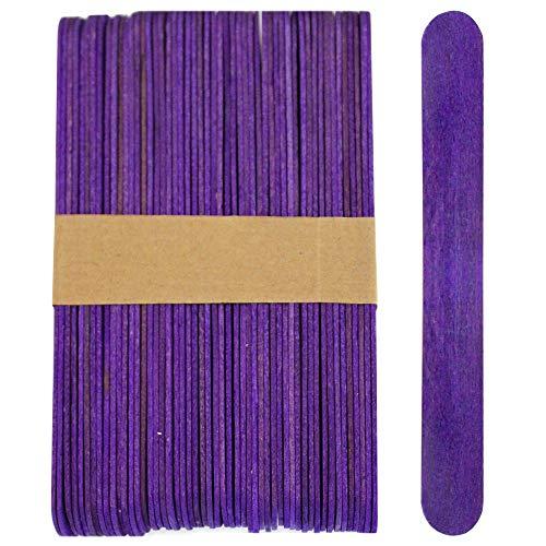 100 Sticks, Jumbo Wood Craft Popsicle Sticks 6 Inch (Purple)