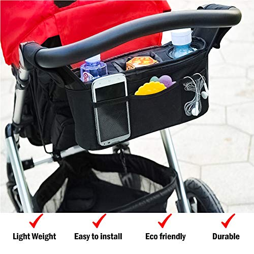 Universal Fit Baby Stroller Organizer – Lightweight Universal Stroller Organizer for Smart Moms | Stroller Bag with Two Insulated Cup Holders & Lots of Storage for All Your Baby Accessories