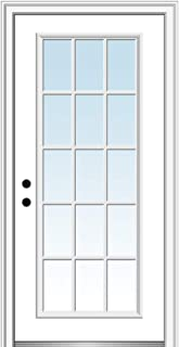 National Door Company ZZ00498R Fiberglass Smooth Primed, Right Hand In-swing, Prehung Front Door, 15 Lite, Clear Glass, 34