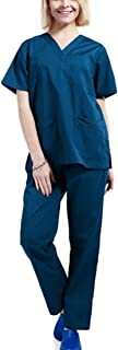 WSPLYSPJY Women's Medical Scrub Set with Solid Color Top and Cargo Pants Scrubs Sets