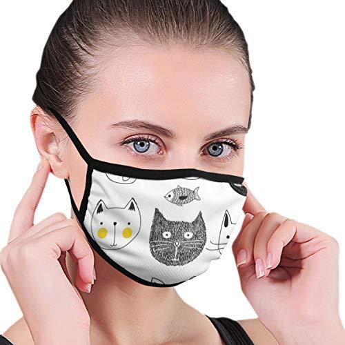 Katten Met Snor Boog Tie Hoed Kroon Pluizig En Vis Humor Gezichten Grafische Drukkerij Veiligheid Mond Cover voor Volwassen