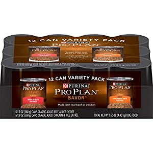 Purina Pro Plan Pate Wet Dog Food Variety Pack, SAVOR Beef & Rice and Chicken & Rice Entrees – (12) 13 oz. Cans