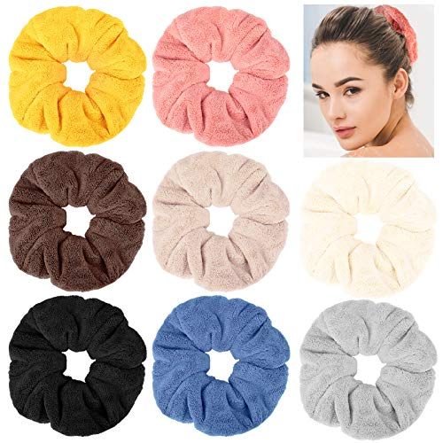 8 Pieces Large Drying Scrunchies Microfiber Towel Hair Scrunchies Soft Thick Fuzzy Scrunchy Hair Drying Bands Elastic Hair Drying Ropes Ponytail Holder for Wet and Dry Hair, 8 Colors