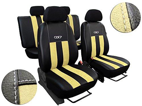 POK-TER-TUNING Autositzbezüge Passend für Jetta IV-V .Sitzbezüge Set Kunstleder mit Alcantra. Design GT. in Diesem Angebot Beige.