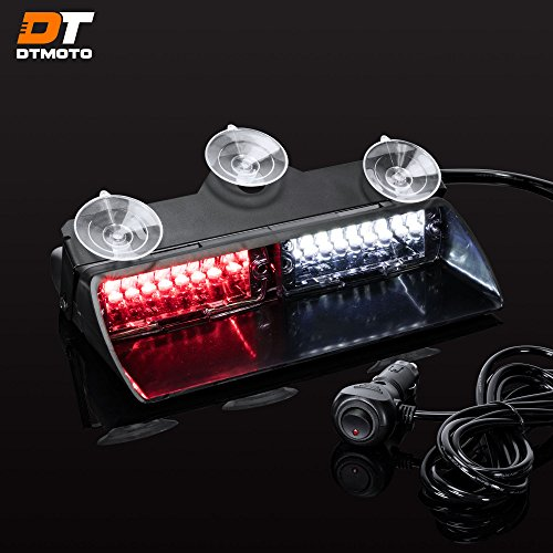 9' 16W Red White LED Flashing Warning Strobe Dash Light for Volunteer Firefighter Vehicles - Interior Emergency Lights For Windshield w/Suction Cup