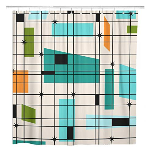 ArtSocket Shower Curtain Teal Mid Retro Grid and Starbursts Orange Century Modern Home Bathroom Decor Polyester Fabric Waterproof 72 x 72 Inches Set with Hooks