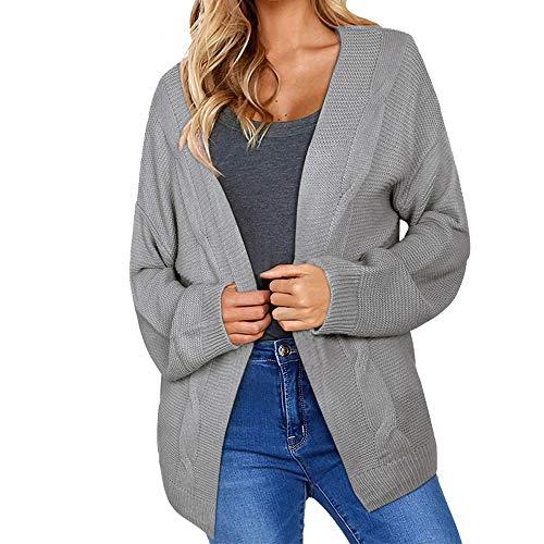 OSYARD Damen Strickjacke Sweater Coat Freizeit Einfarbig Mäntel Langen Abschnitt Wool Coat, Frauen Winter Open Front Solid Pocket Cardigan Langarm Pullover Mantel Jacke