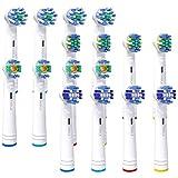 Tikola Testine di ricambio per spazzolino elettrico Oral-B Pro serie Genius e Smart, croce, precisione, sbiancamento e filo interdentale Rimozione della placca da 16 confezioni
