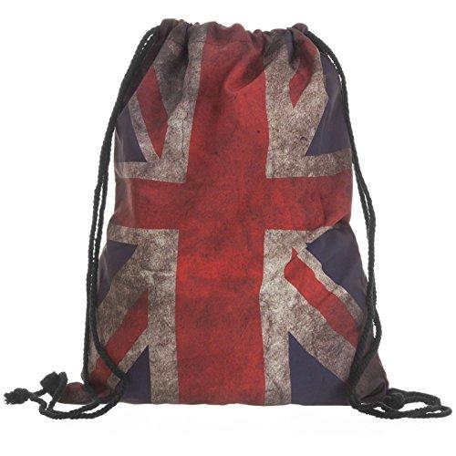 Compagno Turnbeutel Fullprint Rucksack Beutel Tasche Sport-Beutel, Rucksack Farbe:Vintage Union Jack