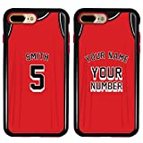 Custom Basketball Jersey Cases for iPhone 7 Plus / 8 Plus by Guard Dog – Personalized Sports – Your Name and Number on a Protective Hybrid Phone Case. (Black, Red)