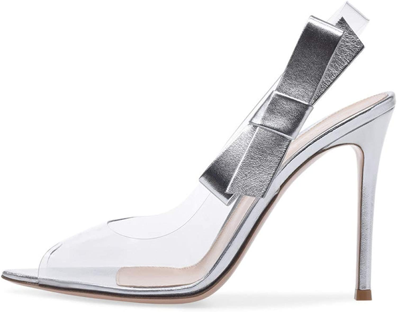 Damen Stilettos High Heel Sandalen klar Peep Toe Pumps Bowknot Slip On Dance Party Lady Schuhe