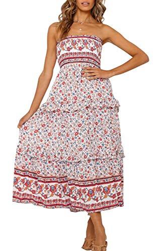 ZESICA Women's Summer Bohemian Floral Printed Strapless Beach...