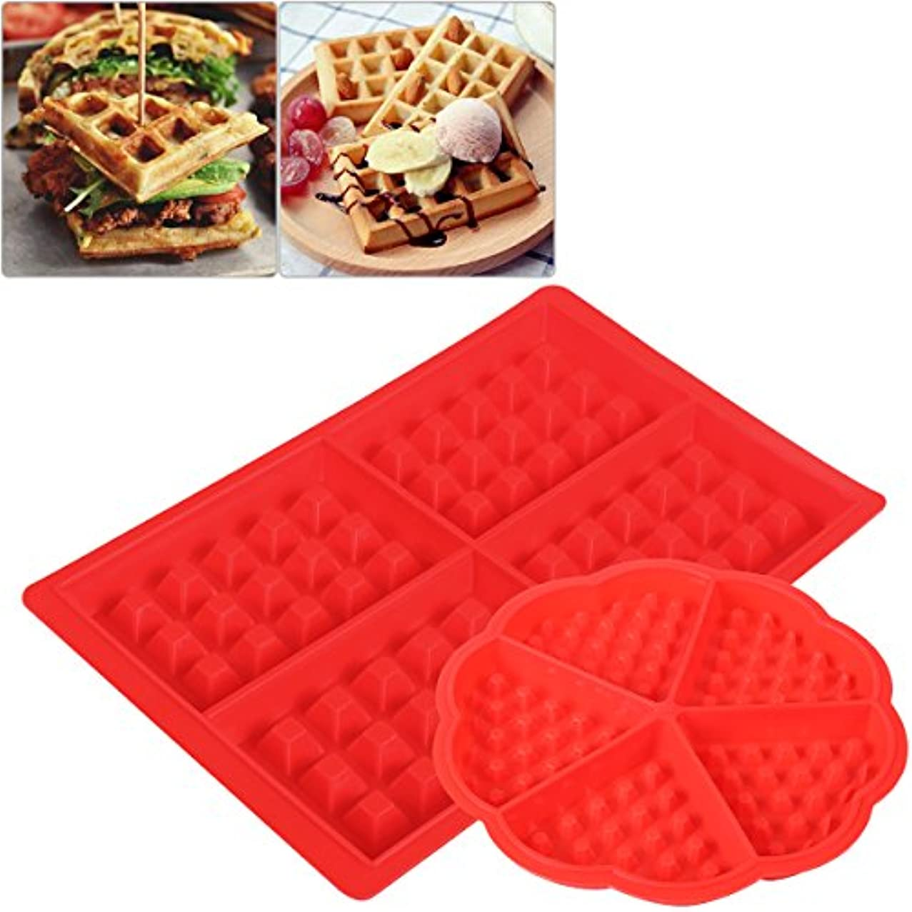 OUNONA 2Pcs Silicone Waffle Mould Heart Shaped Waffle Maker Chocolate Mold Square Heart Shape