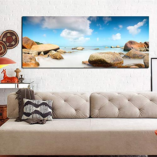 zgwxp77 Impresión HD Paisaje Cielo Nube Piedra Paisaje Marino Lienzo Pintura al óleo póster Moderno Arte de la Pared imagen35x70cm sin Marco