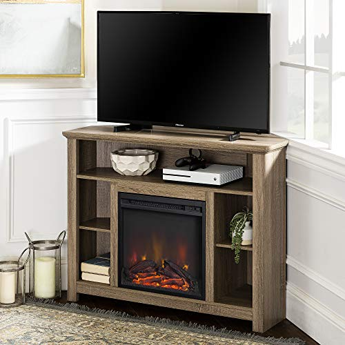 "WE Furniture 44"" Driftwood Wood Corner Fireplace TV Stand Console for Flat Screen TV's Up to 48"" Entertainment Center"