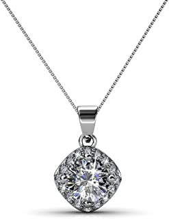 Cate & Chloe Celeste 18k White Gold Necklace with Swarovski Crystals, Unique Silver Necklace for Women, Special Occasion J...