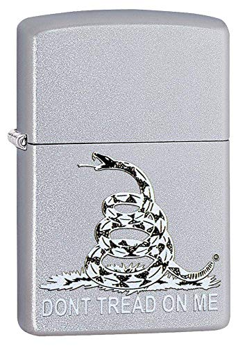Zippo Don#039t Tread on Me Satin Chrome Pocket Lighter