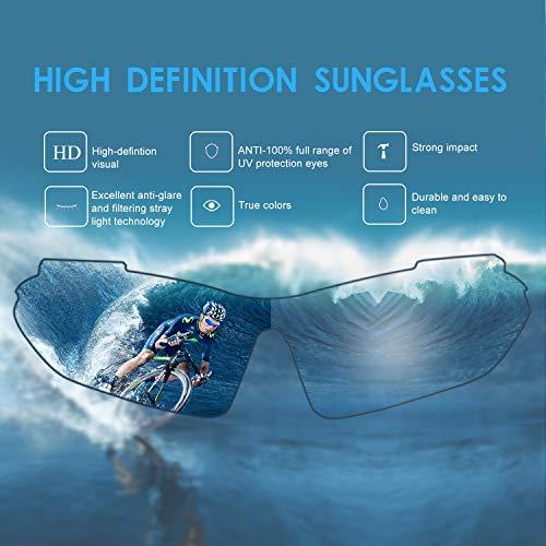 Carfia Multi TR90 UV 400 Outdoor Sport Brille Polarisiert Sonnenbrille Radbrille mit 5 wechselbare Linsen für Skilaufen Golf Radfahren Laufen Angeln Baseball - 2