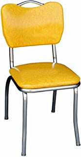 Richardson Seating Retro 1950s Handle Back Chrome Diner Chair in Cracked Ice Yellow