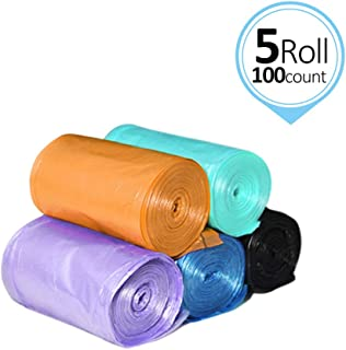 Moyad Small Trash Bags Handle-Tie Garbage Bags for Bathroom Bedroom 4 Gallon Trash Can Bags 100 Counts 5 Rolls, Size 18.1x24.8 inches