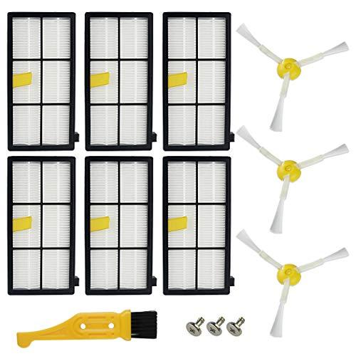 Ugardo Ersatzteile für iRobot Roomba 800 900 Serie 800 805 850 860 861 866 870 880 890 960 961 964 980 981 985 Staubsauger 6 Filter & 3 Seitenbürsten