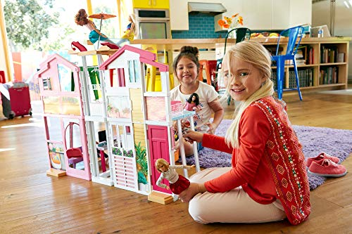 Barbie DLY32 ESTATE Three-Story Town House Colourful and Bright Doll House Comes with Furniture and Accessories, Playset [Amazon Exclusive]