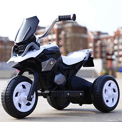 Yany Kinder Elektromotorrad, Dreirad Ladewagen mit Musik Elektroauto für Kinder Fahrt auf Jungen Spielzeug für 2-6 Jahre Alt,Weiß