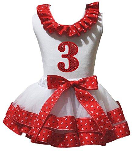 Petitebelle pailletten 1e-6e wit shirt rode zeeman bloemblaadjes Rok Set Nb-8y