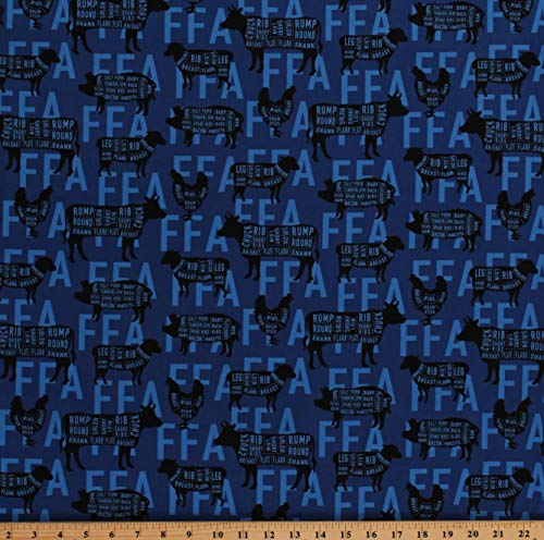 Cotton Farm Animals Cuts of Meat Charts FFA Future Farmers of America Forever Blue Agricultural Education Farm Blue Cotton Fabric Print by The Yard (D754.03)