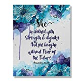 Wayfare Art Proverbs 31:25 Watercolor Flower Canvas Prints Artwork Wall Art Poster for Home Office Living Room Decorations 8 x 10 inch