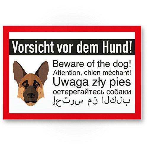 Kunststoff Schild Schäferhund - Vorsicht vor dem Hund / Achtung Schäferhund - Hunde Schild, Hinweisschild Grundstück mehrsprachig German Shepherd - Türschild Haustüre / Einbruchschutz