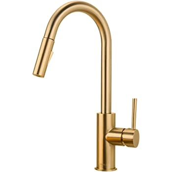 Gold Kitchen Faucet With Pull Down Sprayer Kitchen Faucet Sink Faucet With Pull Out Sprayer Single Hole And 3 Hole Deck Mount Single Handle Copper Kitchen Faucets Champagne Bronze Forious Amazon Com