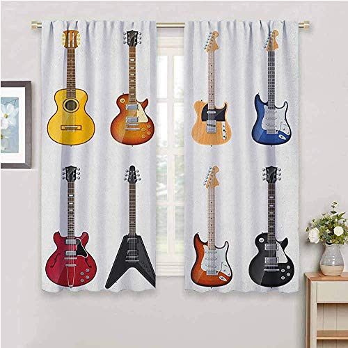 DIMICA Premium Blackout Curtains guitar a wide variety of string instruments realistic musical pattern jazz blues acoustic Print Living Room Decor Blackout Shades multicolor W63 x L45 Inch