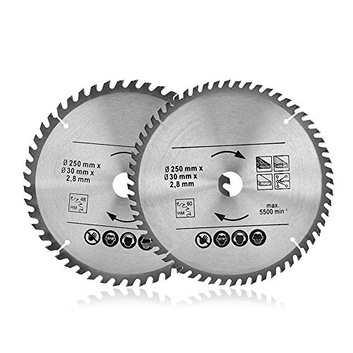 Hoja para sierras circulares de madera Disco Hoja para madera TCT Calibre 30 mm Diámetro profesional Wood Craft (2 unidades: 250 mm 48T, 60T)