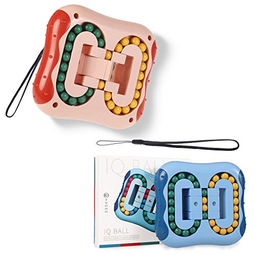Ulikey Frijoles Mágicos de Juguete, 2pcs Magic Bean Rotating Juguete, Juguetes para Aliviar el Estrés Juguete Creativo para Niños Juguete Inteligencia de Dedo de Cubo Giratorio