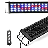 """AQQA 11W-45W Aquarium LED Lights, Waterproof Full Spectrum Fish Tank Lamp with Timer Controller, White & Blue &Red Light, Extendable Brackets, for Freshwater Planted Tank (11W(11""""-19""""))"""