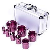 Sierra de corona de diamante M14, rosca 20/25/32/35/40/50/60/68, 8 unidades, en caja de aluminio, ancho 12 mm, adecuada para piedra y baldosas de cerámica