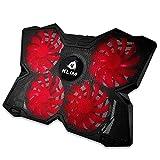 KLIM™ Wind - Refroidisseur Ordinateur Portable + Le Plus Puissant + Refroidissement Ultra Rapide + 4 Ventilateurs Silencieux + Refroidisseur PC Portable PS4 Xbox - Version 2020 - Rouge et Noir