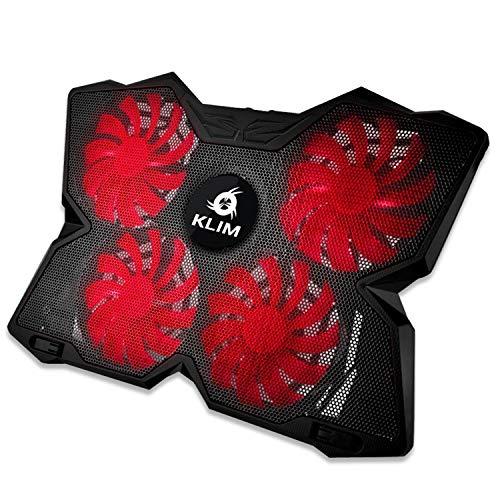 KLIM Wind Laptop Kühler - Leistungsstark Wie Kein Anderer – Schneller Kühlvorgang - 4 Lüfter PC Notebook PS4 - Belüfteter Laptop Ständer, Gamer Gaming Stützhalterung - 2021 Version - Schwarz