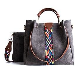 TIBES Femmes sac à main Porte-monnaie en cuir synthétique 2pcs ensemble sac Sac d'épaule Vintage Cartable de travail…