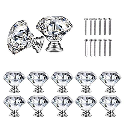 AkiiGer 12 Stück Kristall Schubladenknöpfe, Kommode Möbelknöpfe, Zinklegierung Kristallglas Moebelknauf Griff Garderobe Ziehgriffe Möbelgriff, Durchmesser 30mm, mit Schrauben