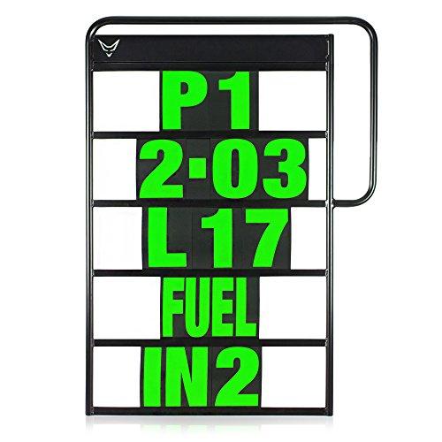 Pitboard, Boxentafel, Infotafel, Anzeigetafel, Rundenzeiten, Rennsport, Rennstrecke, Zeitnahme, Platzierung, klein, Set mit 37 Karten, neon grün, RACEFOXX