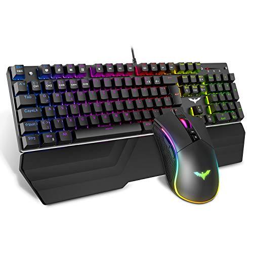 havit Mechanische Gaming Tastatur und Maus Set, RGB Hintergrundbeleuchtung QWERTZ (DE-Layout), Aluminiumoberfläche und Handballenauflage, 4800 Dots Per Inch RGB Gaming Maus mit 7 Tasten (KB389L)